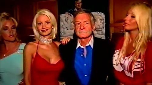 "Hefner said his arrangement of ""seven girlfriends"" worked very well. (60 Minutes)"