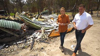 Today show hosts Karl Stefanovic and Ally Langdon surveyed the scenes of the devastating bushfires that swept across East Gippsland.