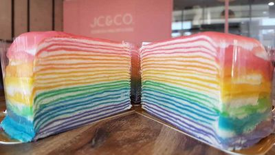 Sydney café wins the rainbow food trend by serving up crepes that are exactly what a rainbow would be if it was cake
