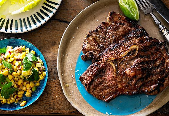 The Honey Badger's Cajun-spiced Y-bone with grilled corn and avocado salsa