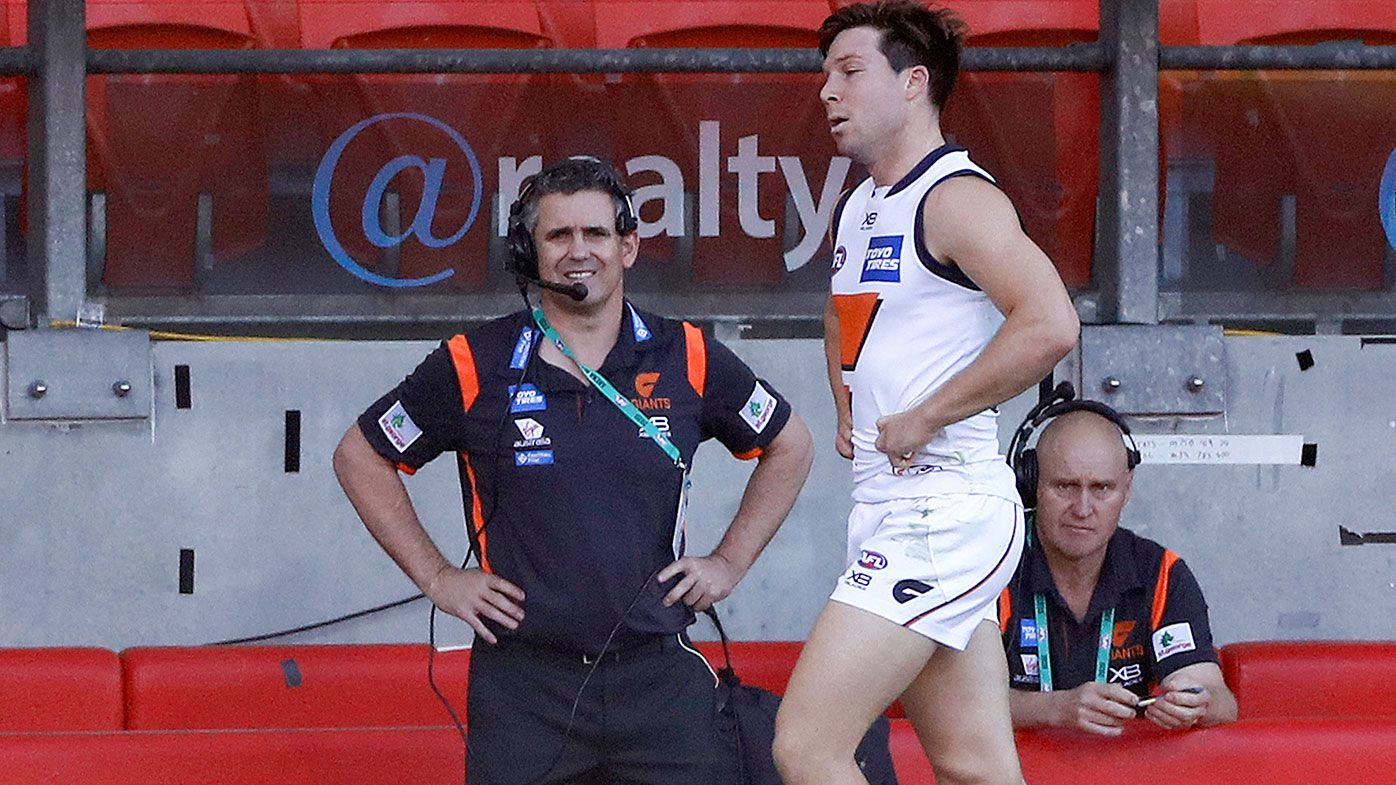 GWS Giants star Toby Greene goes down with hamstring injury in win over Suns