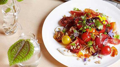 "Click through for our <a href=""http://kitchen.nine.com.au/2016/05/16/15/23/tomato-fried-wheat-and-goats-curd-salad"" target=""_top"">tomato, fried wheat and goat's curd salad</a> recipe"