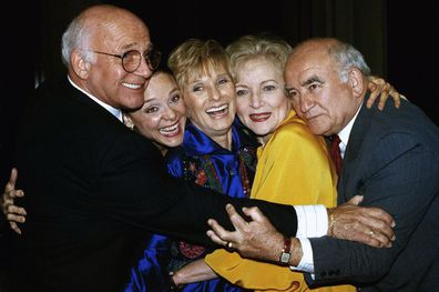 Former cast members of the Mary Tyler Moore Show, sans Mary Tyler Moore, are reunited back in 1992. From left are Gavin MacLeod, Valerie Harper, Cloris Leachman, Betty White and Ed Asner.