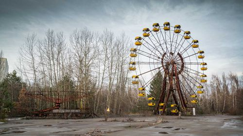 A ferris wheel lies eerily abandoned in Chernobyl