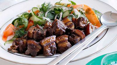 "Kylie Kwong's <a href=""http://kitchen.nine.com.au/2016/05/16/18/20/kylie-kwong-caramelised-pork-belly-with-chinese-coleslaw"" target=""_top"">Caramelised pork belly with Chinese coleslaw</a> recipe"