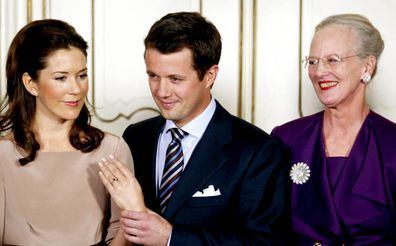 Queen Margrethe at the engagement announcement of Princess Mary and Prince Frederik in 2003.