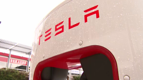 A Tesla electric charging station