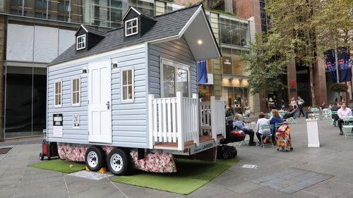 A tiny house has been installed in Sydney's Martin Place.