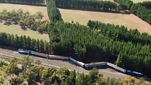 Wallan train derailment ariel