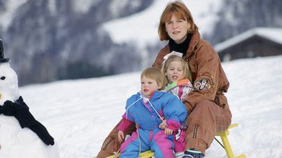 Duchess of York tobogganing with Beatrice and Eugenie, 1992