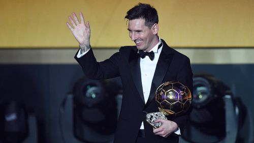 Lionel Messi delivers a speech after winning the FIFA Men's soccer player of the year 2015 prize during the FIFA Ballon d'Or awarding ceremony at the Kongresshaus in Zurich, Switzerland. (AAP)