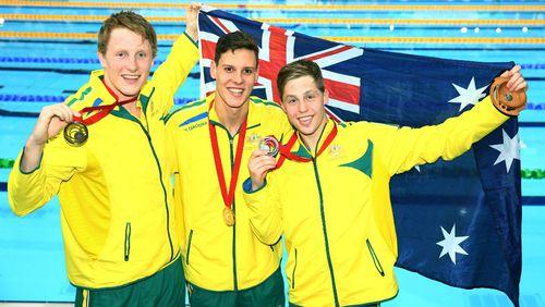 Swimmer Mitch Larkin leads all-Australian podium in 200m backstroke final