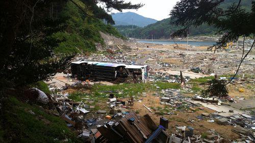 The view from where the school-children ran to escape the tsunami.