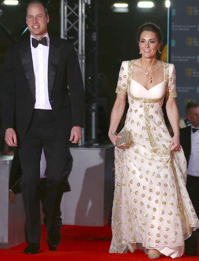 Prince William and Kate, Duchess of Cambridge pose for photographers upon arrival at the Bafta Film Awards, in central London, Sunday, Feb. 2 2020.