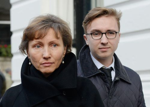 Alexander Litvinenko's widow Maria and son Anatoly outside a public inquiry into his death in London in January 2015. Picture: AAP
