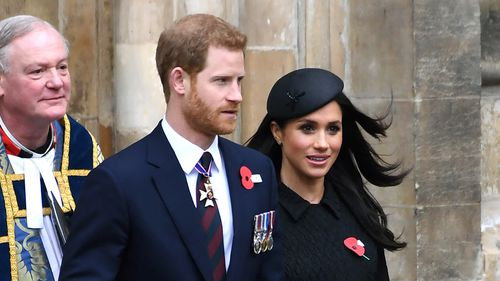 Meghan Markle and Prince Harry at the annual Service of Commemoration and Thanksgiving at Westminster Abbey, London, to commemorate Anzac Day. (PA)