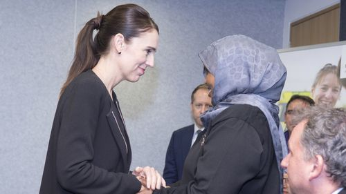 New Zealand Prime Minister Jacinda Ardern meets with first responders to the mass killings at the Majid Al Noor and Linwood Islamic Centre in Christchurch.