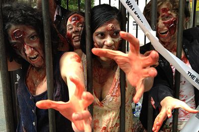 """To hype up the Australian premiere of the zombie drama <i><a href=""""/program/the-walking-dead/270788/"""" target=""""new"""">The Walking Dead</a></i> on February 26, the new pay-TV network FX unleashed a horde of deadly, flesh-eating zombies in Sydney's Martin Place. Thanks a <i>lot</i>, FXC."""
