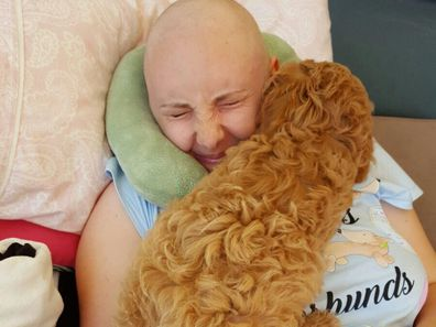Jess during her second chemo treatment.
