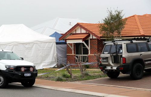 Police cordoned off the home in Ellenbrook. Picture: AAP