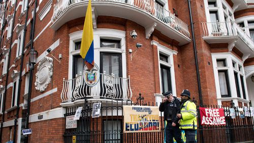 "Mr Assange is accusing Ecuador of violating his ""fundamental rights and freedoms""."