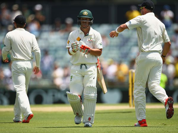 David Warner leaves the WACA after being dismissed for 253 in the first innings o fthe Second Test. (AAP)