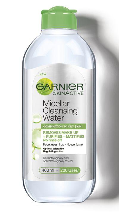 "<a href=""https://www.priceline.com.au/garnier-micellar-cleansing-water-all-in-1-400-ml"" target=""_blank"">Micellar Cleansing Water for combination to oily skin, $12.99, Garnier</a>"