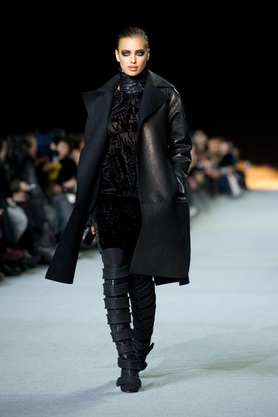 Irina Shayk walks the runway during the Kanye West  Ready-To-Wear Fall/Winter 2012 show as part of Paris Fashion Week at Halle Freyssinet on March 6, 2012 in Paris, France.