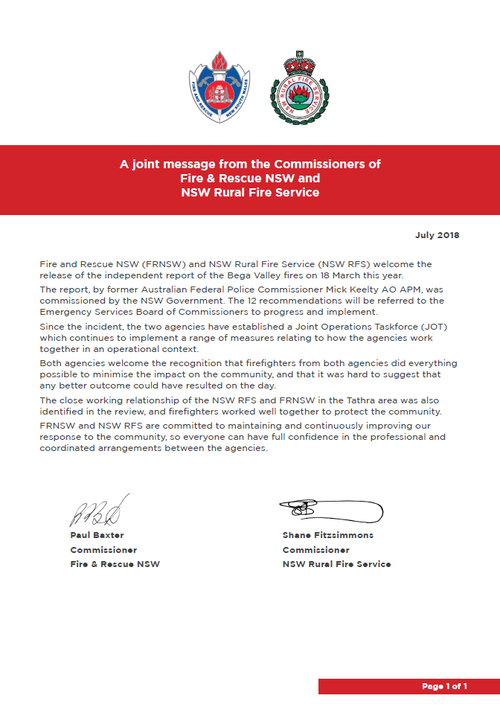 The full joint statement released today by RFS and FRNSW.