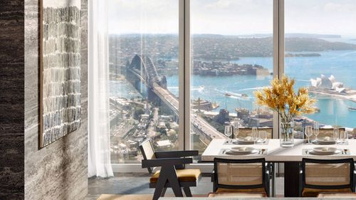 The luxurious home has views of Sydney Harbour, Darling Harbour and the Blue Mountains.