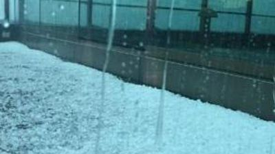The best view of the hail was from indoors. (Brett G)