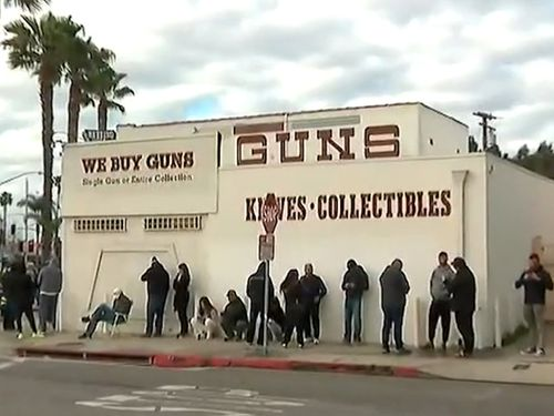 People have queued for hours to buy guns and ammunition in Los Angeles, as fears of a coronavirus meltdown descends on the city.