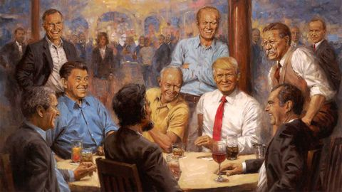 The painting Donald Trump put up in the White House.