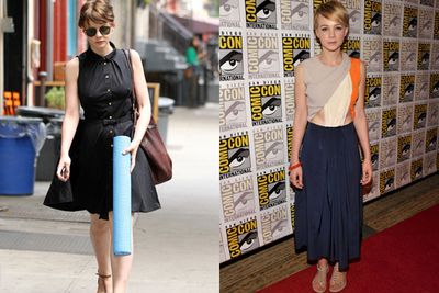 Carey Mulligan is also a bit of a hipster chameleon. There's the 'street' look, complete with dark shades and hippie yoga mat...and then there's the weird but way cool dressy number.
