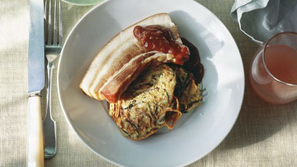 Braised bacon with zucchini fritters