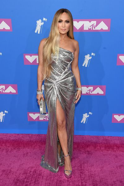 <p>Jennifer Lopez, wearing Versace, at the MTV Video Music Awards, August 2018</p>
