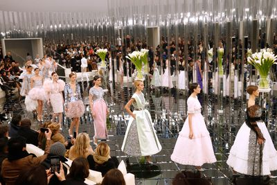 The mirrored runway in the Grand Palais in Paris. Chanel Haute Couture Spring 2017.