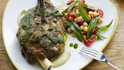 "Recipe: <a href=""https://kitchen.nine.com.au/2016/05/20/10/05/slowroasted-moran-family-lamb-shoulder-with-chermoula-zucchini-and-mint"" target=""_top"" draggable=""false"">Slow-roasted Moran family lamb shoulder with chermoula, zucchini and mint</a>"