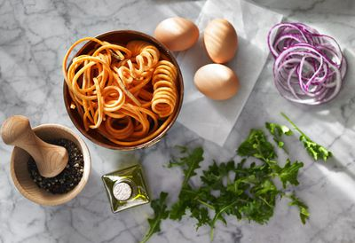 Three ways with spiralised carrot noodles