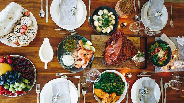 Beautifully set dinner table flat lay.