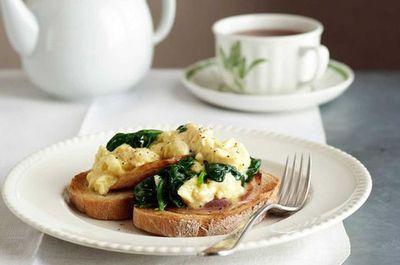"""Recipe: <a href=""""http://kitchen.nine.com.au/2016/05/17/18/17/spinach-scrambled-eggs"""" target=""""_top"""">Spinach scrambled eggs</a>"""