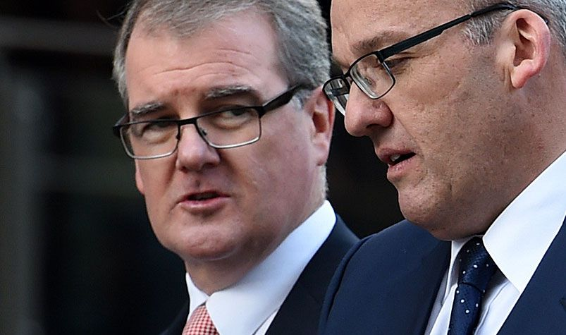 NSW Opposition Leader Luke Foley (right) and shadow treasurer Michael Daley in Sydney in 2015. (AAP)