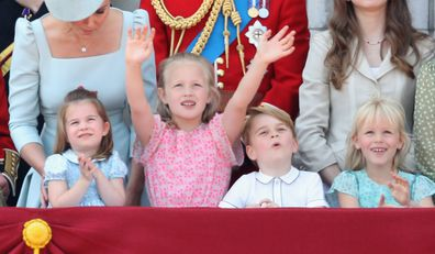 The royal children watching the flyover at Trooping the Colour in 2018.