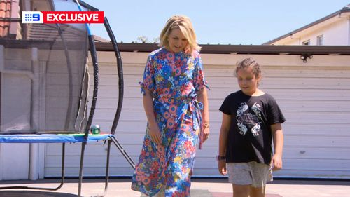 Georgie Gardner and Makayla at her home in Sydney.