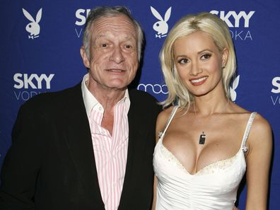 Hugh Hefner and Holly Madison attend the Playboy and Skyy Vodka Party on July 18, 2006 in Los Angeles, California.