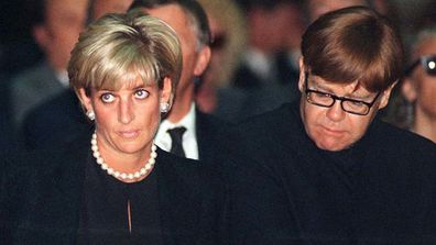 Elton John and Princess Diana attend the funeral of fashion designer Gianni Versace in 1997 shortly before her death.