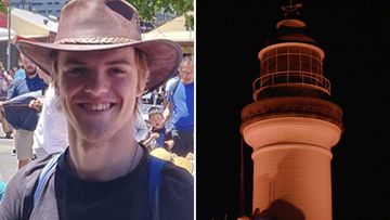 Byron Bay's famed lighthouse turned red overnight to honour missing backpacker Théo Hayez on the one-year anniversary of his disappearance.