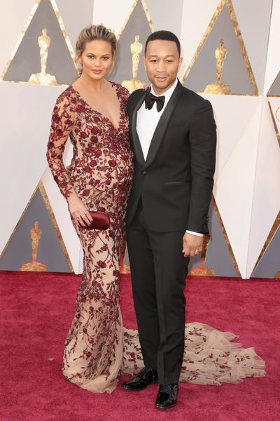 John Legend and Chrissy Teigen in custom-made Marchesa at the 2016 Academy Awards