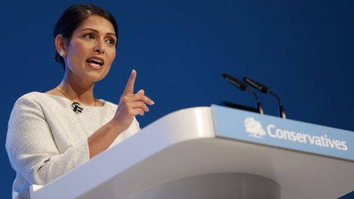Britain's Home Secretary Priti Patel addresses the delegates at the Conservative Party Conference in Manchester, England. (Photo: October 1, 2019)