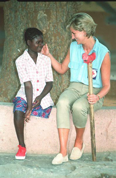 Diana with Sandra Tigica 13 at the orthopaedic workshop in Neves Mendinha, near Launda, Angola.
